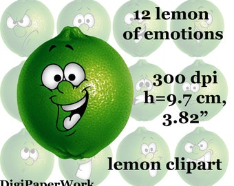 Lemon clip art emotions lemon Clipart Digital Scrapbooking Elements Personal and Commercial Use