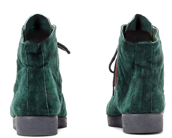 Retro women US Suede Boots Hi Top Green 6 Trainers Top Up High 37 EUR UK 5 Booties 4 Moss Vintage Lace Patchwork Sneakers Ankle 80s zXdrtdxqPw