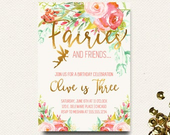 Fairy Birthday Invitations Fairy 1st Fairy First Birthday Invitation Boho Chic Floral Roses Gold Garden Party 1st Bday Invite 2nd 3rd 4th