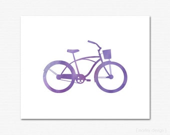 Bike Print Purple Watercolor Bike Wall Art Home Decor Office Decor Bicycle Print Bicycle Wall Art Printable Digital 8x10 Minimalistic Modern