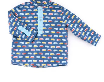 """Baby shirt """"tunic"""" in blue cotton, printed motif """"small bus"""""""