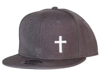 Cross Embroidered Charcoal Gray 6-Panel Flat Bill Hat/Cap