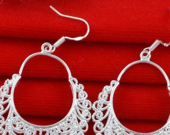Silver Filled Hollow Hoop Earrings