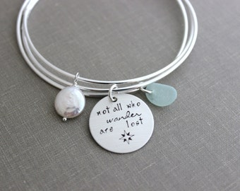 Not all who wander are lost - Sterling silver triple interlocking bangle bracelet - Genuine sea glass - Freshwater Coin pearl - Compass