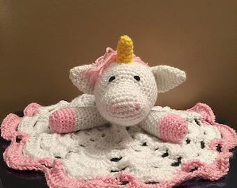 Crochet Sparkle Unicorn Lovey Travel Security Blanket Snuggle Wubby Amigurumi Toy
