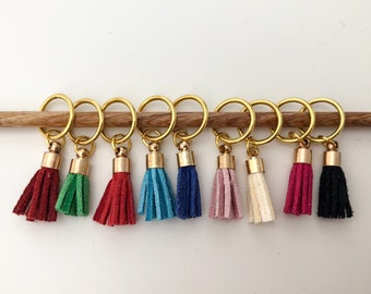 Set of 4 Gold Tassel Stitch Markers or Progress Keepers