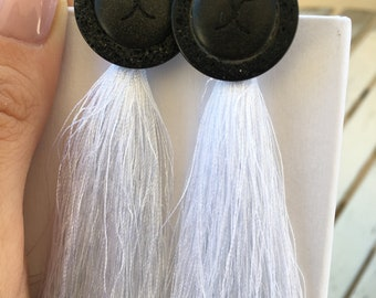Earrings with vintage Chanel buttons, 925 silver components and tassels
