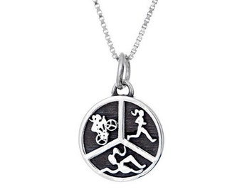 Triathlon Charm Necklace- Sterling Silver