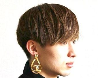 Authentic Vintage Chanel earrings CC logo hoop dangle ea1707