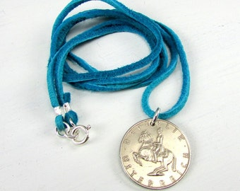 Horse Coin Necklace | 47th Birthday Gift | 1970 Austria Coin Necklace | Horseback Coin Charm | Turquoise Leather Cord | Equestrian Jewelry
