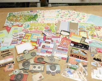 48 Pieces Lot Scrapbooking Embellishments Papers Stickers Travel Themed K & Company Jolee's Marcella Punch Studio and More