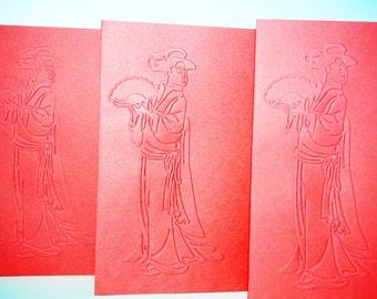Japanese Geisha Card, Asian Blank Card, Geisha Card, Geisha Embossed Card, Blank Card Geisha, Asian Geisha Card, Geisha Lady Card, Japanese