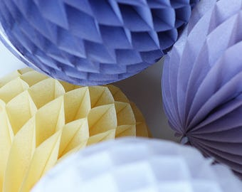 Tissue paper honeycombs set / round paper lanterns- dusty yellow and purple - wedding party decorations