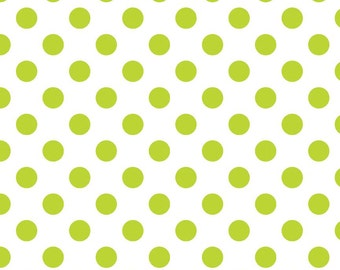 Lime Green Dot Fabric, Riley Blake C490-32 Lime Dot Fabric, Lime and White Polka Dot Fabric, 100% Cotton Fabric, Quilting Fabric