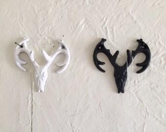Deer antler hook, double hook, jewelry holder, coat holder, distressed or non distressed, white or black,