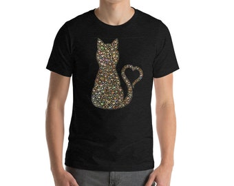 """Cute Kitty """"Heartcat"""" filled with Abalone Shell-coloured Hearts and his tail in a heart Short-Sleeve Unisex T-Shirt"""