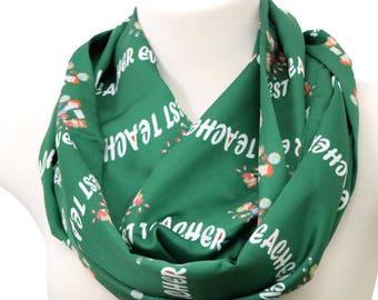 Teacher infinity scarf Teacher gift for teacher's appreciation day green back to school gift birthday present for her wife girlfriend summer
