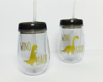 Winosaur Wine Tumbler Set // Dinosaur Wine Glass // Dino Wine Glass // Wine-o-saur Wine Glass // Dinosaur // Made in USA