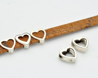 Open Heart Slider Bead For 10MM Flat Leather Antique Silver  Qty 2