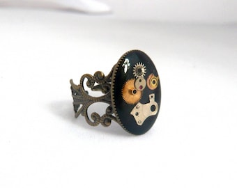 Black steampunk ring