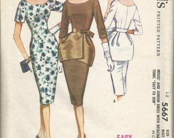 1960s Sheath Cocktail Dinner Theater Dress Peplum Scoop Neck Easy to Sew McCall's 5667 Size 14 Bust 34 Women's Vintage Sewing Pattern