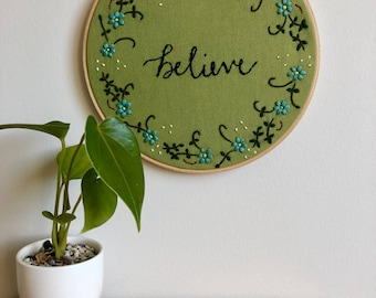 Believe Embroidered Wall Artwork