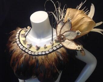 Feather Neck Piece. Authentic White Tapa Cloth, Coconut Fibers, Hau Bark, Sea Shells And Niau. Perfect For Tahitian And Cook Island Dancers.