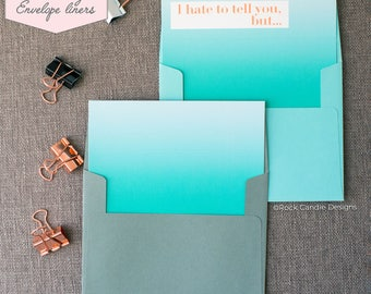 Printed Matching Envelope Liner | A2 Sized Liner | Watercolor Ombré Card | Card to Ask Your Bridesmaid to be in your Wedding Party | Ombre