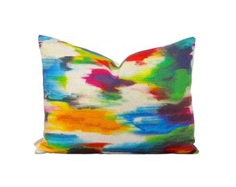 Abstract Watercolor Pillow - Linen Pillow Cover - Colorful Cushion - Lumbar Pillow - Contemporary Home Decor - Multicolor Pillows