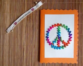Greeting card: Peace & Love - Orange