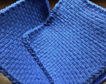 Handmade Large Woven Potholder Duo Set in Blue