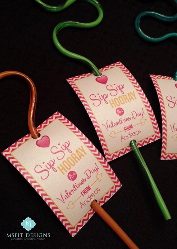 Valentine's Day Favors- Valentine Printables - Straw Favors - Sip Sip Hooray for Valentines Day