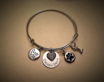 Love my Dog Bangle Heart Dog Paw Dog Bone Handstamped with Pet Names on Disc