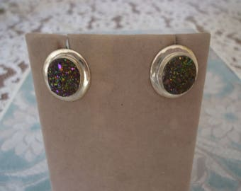 Vintage Purple Druzy and Sterling Silver Pierced Post Earrings, Jay King DTR Desert Rose Trading, 6 Grams, 20 X 15mm