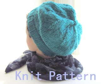 Simple Knit Hat Pattern, Knitting Patterns Tutorial pdf, Like a Beanie Hat Knitting Pattern, Instant Download