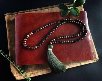 Tiger Ebony and Jade Mala with Extra Large Lux Forrest Silk Tassel  / Meditation / 108 / Modern Bohemian / Yoga Jewelry