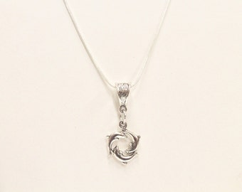 Dolphin Jewelry, Three Dolphin Circle Pendant on Silver Chain, Sea Lover Gift, Dolphin Lover Gift For Her, Girlfriend Gift, Valentine Gift