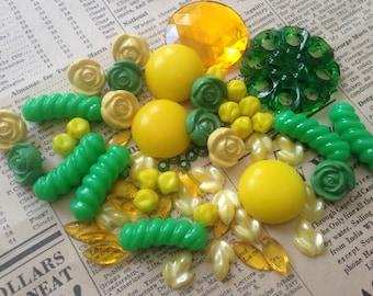Vintage Inspiration Kit - Yellow, Green - Beads, Buttons, Cabochons - Bright, Colorful -  Grab Bag, Bead Soup, Assortment, Lot, Mix, Destash