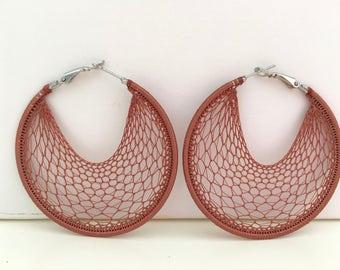 "Crochet hoops  2 1/4 "" in Light Brown"