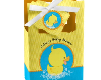 Ducky Duck Favor Boxes - Custom Baby Shower and Birthday Party Supplies - Set of 12