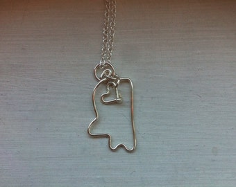 Mississippi necklace, state outline, state pendant
