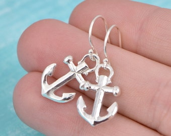 Sterling Silver Anchor Earrings, Anchor Jewelry, Silver Anchor Dangle Earrings, Nautical Jewelry, Sterling Dangle Earring
