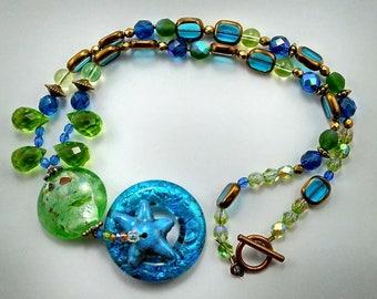 Millefori Glass Beach Theme Handmade Necklace -165 A