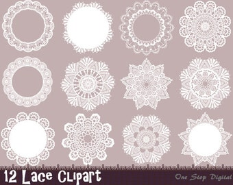 Instant Download Digital Lace Doily Clipart Lace Frame Element Digital Scrapbook Lace Decoration Clip Art 0270