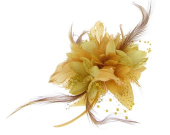 Gold fascinator comb for special events,Ascot, Races, Special Events