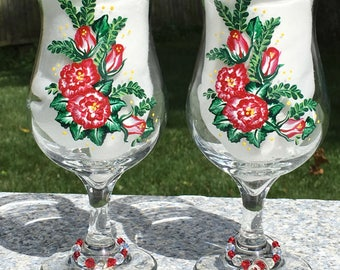Wine Glasses With Red Roses Hand Painted Set of 2, Wine Glass Charms, Mothers Day Gift, Girlfriend Gifts, Gifts For Her, Birthday Gift