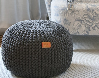 Chunky double cord/ dark gray pouf/ chunky knitted pouf knit pouf/ Cotton Cord Pouf/ knitted ottoman footstool nursery pouffe