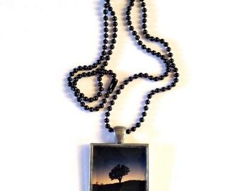 Joshua Tree California - Foto-Anhänger - Halskette - blau Sunset - Schwarz Kugelkette