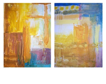 Stained Glass Window Diptych Painting