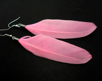 A pair of long pink feather dangly earrings.